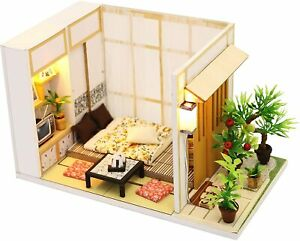 Japanese DIY Miniature Wooden Dollhouse Kit for Adults with Furniture