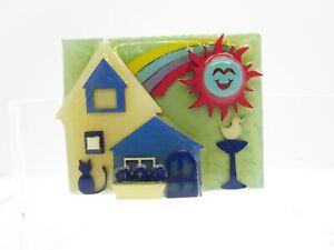 """Lucinda House Pin Red Sun Kitty Cat Bird Bath Flower Box Mark 19 Brooch Pin 2"""" L"""
