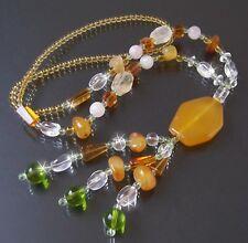 Collar y CORNALINA Gema cuentas de Vidrio perlas JOYA k685