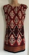 Dorothy Perkins Vestido Túnica-Rojo Y Diseño Geométrico Naranja-Talla 10-Ex. COND
