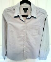 Eddie Bauer Womens Size M Shirt Light Blue Denim Cotton Long Sleeve Button Top