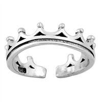 Real 925 Sterling Silver Royal Crown ajustable del dedo del pie Anillo Rey reina monarca