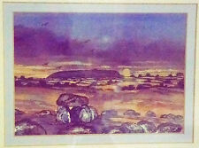 "Original painting WATERCOLOR IRELAND Maeve Fitzsimons ""Evening Glow"" Carrowmore"