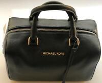 NWT $298 Michael Kors Black Leather Medium Satchel Women's Handbag