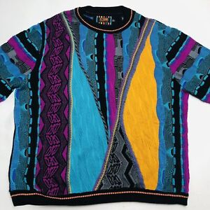 Steven Land Multicolor Cable Knit Thick Hip Hop Biggie Cosby USA Sweater Size XL