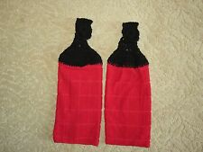 Crocheted top kitchen towels- Red Microfiber Towels with Black accent tops