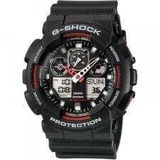 GENUINE NEW Casio G-Shock. GA-100-1A4ER Black & Red World Time Alarm Backlight