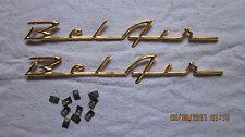 1957 chevy belair quarter panel script emblems gold