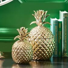 Twos Company Golden ceramic pineapple hospitality jar with lid H20.5cm X D11.5cm