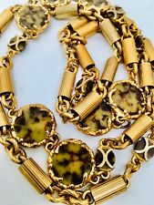 """Vtg Leopard Print Pronged Medallions Gold Pipe Medal Sturdy Links 36"""" Necklace"""