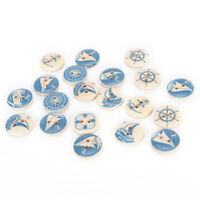 10PCs Natural Wooden Round Buttons Blue Nautical Design Sewing Accessories ~(