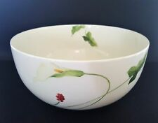 """Mikasa Classic Calla Lily Round Vegetable Bowl 9"""" White Red Flower Optima Y4109"""