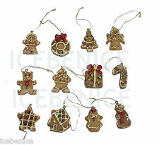 set of 12 Gingerbread Christmas Tree Hanging Decoration Miniature Table Top Tree