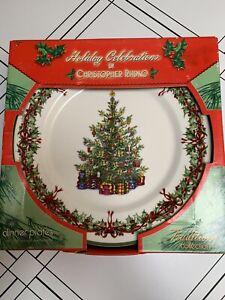 "Christopher Radko Holiday Celebrations Christmas Tree Dinner Plates 11""Set of 4"