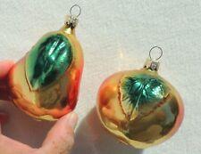 2 Jumbo Vintage mercury Glass Pear Fruit Christmas Tree Ornaments #3669