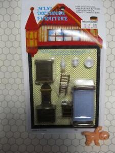 VTG Dollhouse BABY Miniature NEW NIP BEDROOM SET BED MINI SCENE HUTCH BOX CRAFT