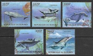 Burundi 2012 MNH 5v, Dolphins, Marine Life, Marine Mammals