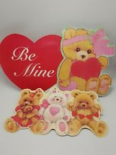 Valentine Cardboard Wall Decor Cutout Teddy Bear Heart Eureka Lot 3 Pink Red USA