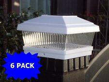 "6 Pack LED White 5""X5"" Solar Powered Post Deck Cap Square Fence Light Lamp Sun"