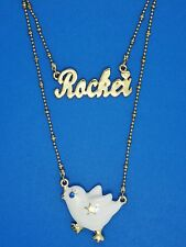 BETSEY JOHNSON ROCKER CHICK ENAMEL CHICKEN DOUBLE STRAND NECKLACE * NEW WITH TAG