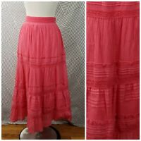 Lapis Tiered Peasant Maxi Skirt Size Small Boho Festival Hippie pink Layered