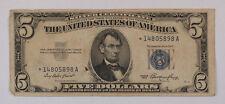 Old 1953 $5 Dollar Bill US Silver Certificate *STAR* Note Vintage Estate
