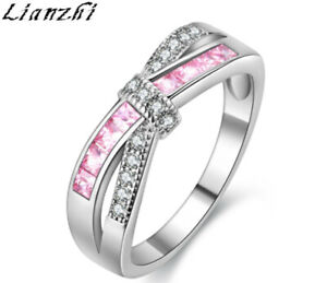 Silver Bow Shape Pink Sapphire Cross Fire Opal Ring Plating White Gold Sz6