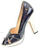Cole Haan COLLECTION Women's Shoes Black Patent Leather Platform Heel Size 8.5B