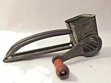 Vtg MOULI CHEESE GRATER Metal w Red Wood Handle FRANCE Primitive Rustic Decor