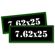 """7.62 X 25 Ammo Can 2x Labels Ammunition Case 3""""x1.15"""" stickers decals 2 pack"""