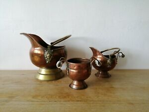 Vintage Copper Brass Coal Scuttle Ceramic Handles Set of 3