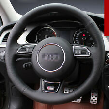 For Audi A4l 2015 DIY Hand-stitched Car Steering Wheel Cover Black Leather