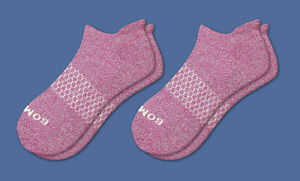 2-Pack Fuchsia Bombas Women's Ankle Socks Classic Marls Honeycomb Medium NWT