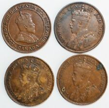4 Coin Lot 1910-1913 Canada Large Cents Sequential Dates 1c Bronze Fine Circ
