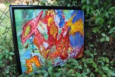 Psychedelic Folk Art,Western Sunset,Retro,Hippie,Vintage,Abstract, Framed, Mod.