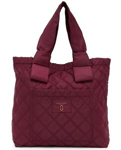 Marc Jacobs Bag Diamond Quilted Nylon Large Knot Tote Plum NEW