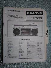New listing Sanyo m7790 m-7790 service manual original repair stereo tape radio boombox