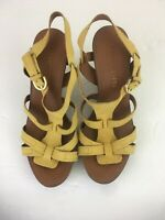 Franco Sarto Mustard Yellow Leather Wedge Sandals Heels Size 7