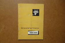 WELGER WSA 50   Original Ersatzteilliste    1969