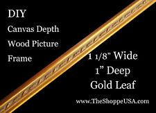 """Diy 30"""" x 40"""" 1 1/8"""" Wide Gold Leaf Canvas Depth Wood Picture Frame Moulding"""