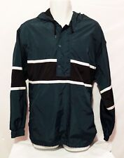 Nike Mens Vintage 90''s Green Black Stripe 1/4 Snap Zip Up Lined Pullover Sz L