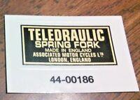 TELEDRAULIC SPRING FORK gold/black transfer, pair, Matchless 1957-61 AMC London