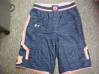 NCAA 2014 Auburn Tigers Game Worn Navy Under Armour Basketball Shorts Size- Med