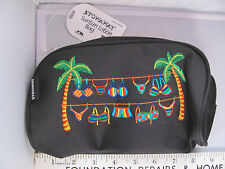 NWT Stowaway Pretty Black Zippered Suntan Lotion Beach Bag Tropical Bikini HD002