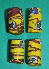 4 Antique Venetian Yellow & Red Wound Beads W/ Star Cane Inserts