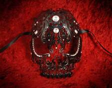 Black Metal Diamante Venetian Mask ~ Skull ~ Ball ~  Burlesque ~ Gothic