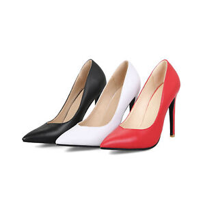 Women's High Heels Stiletto Shoes Black/White/Red Faux Leather Pointed Toe Pumps