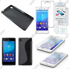 Housse Etui Coque Silicone S-line Noir Sony Xperia M4 Aqua / Dual + Verre