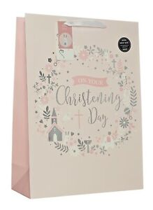 """Extra Large Christening Girl Gift Bag - Silver Foil Church & Text Circle 18""""x13"""""""