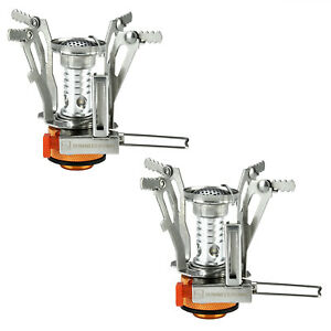 2 Portable Camping Stoves Backpacking Stove with Piezo Ignition Adjustable Valve